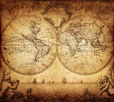 World Map Wall Mural - Vintage Old Map of The World 1733 - Peel and Stick Fabric Wallpaper - Re-positionable Wallpaper - World Map Mural Antique World Map, Old World Maps, Antique Maps, Karten Tattoos, World Map Tapestry, Tapestry Wall, World Map Wallpaper, Photo Wallpaper, Map Tattoos