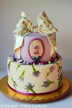 Hand painted Lavender cake
