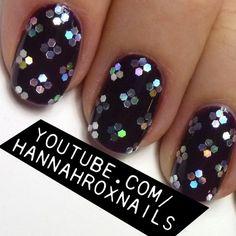Glitter Flower Nails