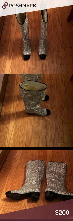 Silver Glitter Boots Chanel INSPIRED Glitter Boots! I only wore the boots once SO my loss your gain!  Details: HIGH BOOTS SILVER GLITTERED FABRIC & PATENT CALFSKIN 2 IN HEEL 50 MM HEEL Other Shoes Heeled Boots