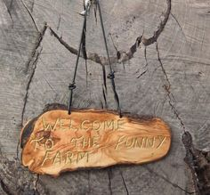 olive wood wall plaque Welcome To The Funny by ellenisworkshop Wood Carvings, Wall Plaques, The Funny, Wood Wall, Utensils, Dog Tag Necklace, Signs, Unique Jewelry, Handmade Gifts