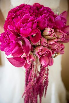 Stunning & Vibrant Hot Pink, Magenta + Fuchsia Cascading Wedding Bouquet Featuring: Peonies, Celosia (Coxcomb, Cockscomb), Calla Lilies, Standard Tulips, Parrot Tulips + Amaranthus