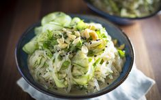In this recipe, chewy shirataki noodles take the center stage, served with a dressing that doesn't skimp on the savory umami flavor.