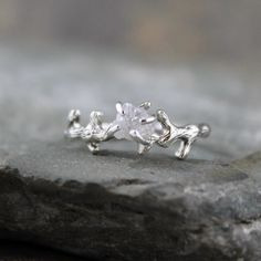 Raw Uncut Rough Diamond Solitaire and 925 Sterling Silver Twig Ring - Rough Diamond Engagement Ring - Promise Ring - Raw Gemstone Ring