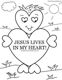 ee8a37a2bb6 Valentine s Day Coloring Page for Sunday school Jesus Lives In My Heart for  Children s Church Sunday