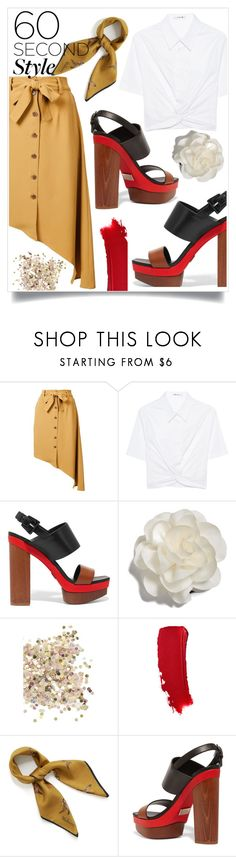 """asymmetric skirt"" by lovedreamfashion ❤ liked on Polyvore featuring Tome, T By Alexander Wang, Michael Kors, Cara, Topshop, Mulberry, asymmetricskirts and 60secondstyle"