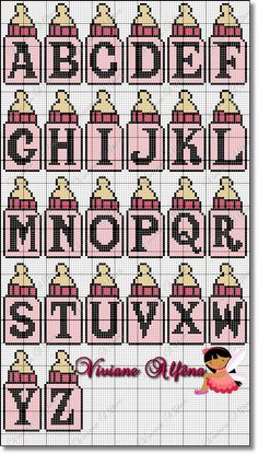 Baby bottle girl - Alphabet perler bead pattern