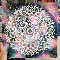 """It's like a flower within a flower. ✨ 12"""" x 12"""" acrylic painting on canvas with some neon paint. Some parts glow under uv light. I paint all of my mandalas with a single detail brush. Anything smaller than a size 0 but I usually use size 10/0. I use toothpicks for stippling.  Edit: #SOLD"""