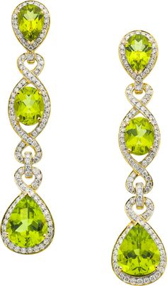 Estate Jewelry:Earrings, Peridot, Diamond, Gold Earrings, Eli Frei