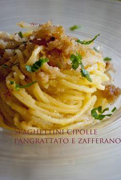 Mon petit bistrot: Spaghettini cipolle, pangrattato e zafferano