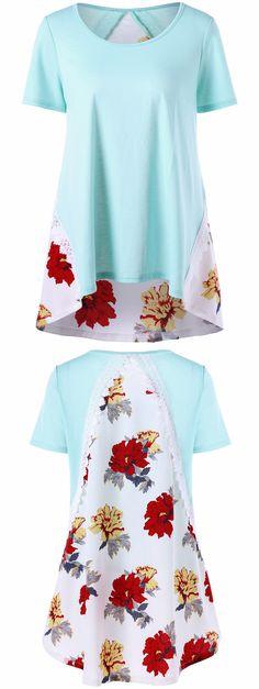$14.25  Lace Trim Floral High Low Hem T-shirt - Pinkish Blue