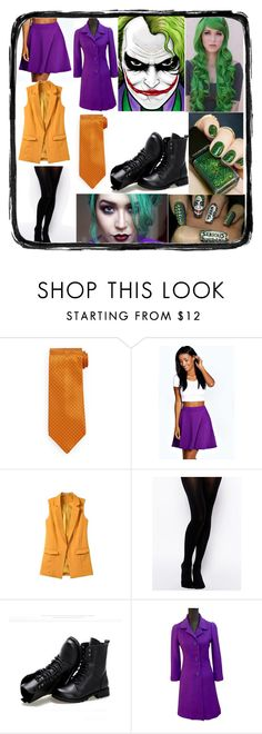 Female Joker Cosplay by paceymia on Polyvore featuring Kate Spade, Boohoo, Gipsy, Sunsteps, Stefano Ricci, joker, DC, cosplay and femalejoker
