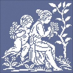 The four seasons: Spring   Chart for cross stitch and filet crochet.