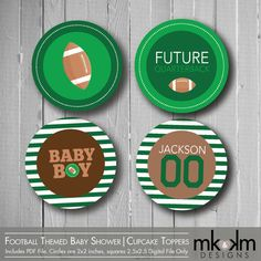 Football Baby Shower Sports Theme Cupcake Toppers by MKKMDesigns, $3.00