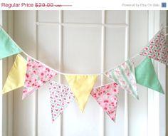 Shabby Chic Fabric Banners Bunting Garland Wedding by BerryAlaMode, $23.20