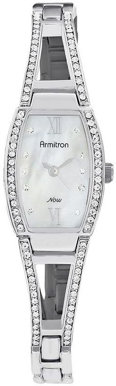 Armitron silver tone barrel watch - women: Sleek sophistication. Your wrist will sparkle in this amazing watch. The perfect way to add flair to your wardrobe.