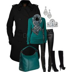 """black and teal"" by alicia-816 on Polyvore"