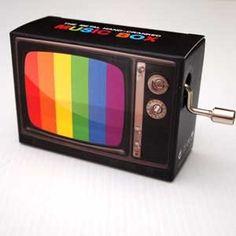 Hand Crank Musical Box - TV Set Black