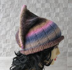 Excited to share the latest addition to my #etsy shop: Parisian style, Winter Hat Kniited Beanie Hat, Knit Hat for Women Knit Hats Women, Colorful Fashion Girl, http://etsy.me/2BNomHY #accessories #hat #rainbow #winterhat #slouchybeanie #slouchyhat #albadofashion #knit
