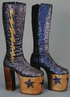 fb941ae7148d Mens Glam Rock glitter platform boots - Tight fitting knee high boots