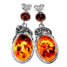 8.4g Authentic Baltic Amber 925 Sterling Silver Earrings Jewelry A5405B | eBay