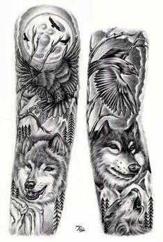 Wolf & raven full sleeve full arm tattoo tetoválásötletek, t Wolf Sleeve, Wolf Tattoo Sleeve, Full Sleeve Tattoo Design, Raven Tattoo, Full Sleeve Tattoos, Arm Tattoos Wolf, Tribal Tattoos, Tattoos Geometric, Tattoo Wolf