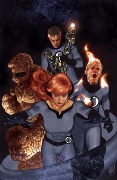Fantastic Four: Mr Fantastic, Thing, Human Torch & Crystal by Adam Hughes First Marvel Comic, Marvel Comics, Marvel Art, Cosmic Comics, Comic Superheroes, Ms Marvel, Captain Marvel, Adam Hughes, Comic Book Artists
