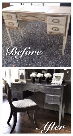 French Provincial Flip Up Vanity Paired With A Super Cute Chair. All  Refinished In A