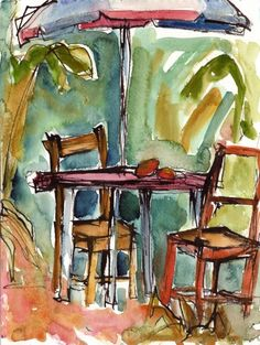 Art Painting Watercolor Tropical Garden Dining Table Two Chairs Umbrella Mango Art Print vhmckenzie Tropical Art, Tropical Garden, Tropical Leaves, Tropical Plants, Tropical Dining Tables, Tropical Chairs, Watercolor Paintings, Original Paintings, Watercolors