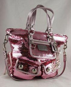 c3448c0a1b COACH Poppy  Pink  Sequin Spotlight Bag 13821 ~Ltd. Ed.~