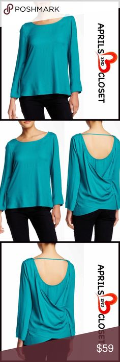 """ELLA MOSS Draped Surplice Back Blouse 💟NEW WITH TAGS💟  RETAIL PRICE: $148   Draped Surplice Back Blouse   * Scoop neck & scoop back w/strap detail   * Long sleeves   * Lightweight & super soft fabric   * Draped Surplice back   * Approx 24"""" long   * A relaxed fit   Material: cotton, polyester, rayon  Color: Turquoise   🚫No Trades🚫 ✅ Offers Considered*✅  *Please use the blue 'offer' button to submit an offer Ella Moss Tops Blouses"""