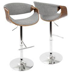 Lowest price online on Lumisource BS-CURVO WL+LGY Curvo Mid-Century Modern Adjustable Bar Stool in Walnut and Light Grey with Swivel