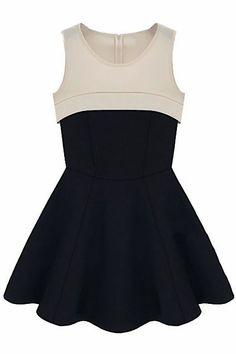ROMWE | Zippered Dual-tone Black Pleated Dress, The Latest Street Fashion