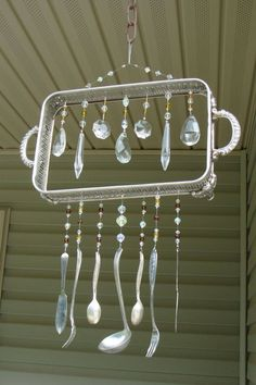Wind chimes from repurposed/reimagined silverware, crystals, and chafing dish....Vintagedragonfly Mosaics FB