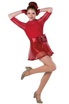 Style#  17231 MODERN LOVE   Click image to enlarge. Red ribbon on mesh over spandex and foil printed spandex short unitard with red mesh insert. Separate sequined mesh skirt with matching waistband. Bow, rhinestone buckle and foil printed spandex binding trim. Headpiece and gloves included. SC-XXLA