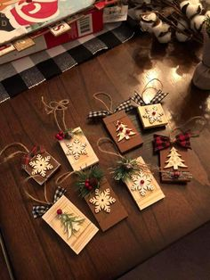Christmas Ornaments To Make, Christmas Gift Tags, Homemade Christmas, Rustic Christmas, Christmas Holidays, Christmas Decorations, Diy Ornaments, Dollar Tree Crafts, Christmas Projects