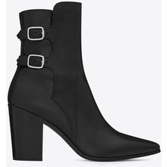 Yves Saint Laurent Saint Laurent French 85 Double Buckle Ankle Boot In... ($1,595) ❤ liked on Polyvore featuring shoes, boots, ankle booties, heels, outfits, black, ankle boots, heeled booties, leather boots and black boots