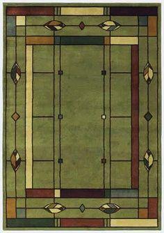 William Morris Arts Crafts Mission Style Olive Green Lodge Area Rug | eBay
