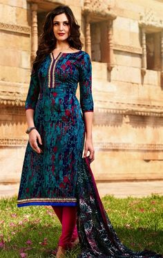 Picture of Butta Multi Color Designer Salwar Kameez