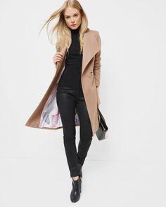 Langer Mantel mit magnetischer Schließe - Kamel | Jacken und Mäntel | Ted Baker DE