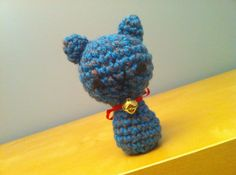 bluegray kitty with bell by MalonB on Etsy