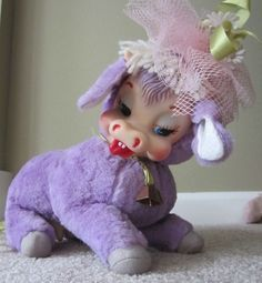 Vintage Purple Rubber Face Udder Rushton Cow Toy Doll Mooing Bell Hat EUC…