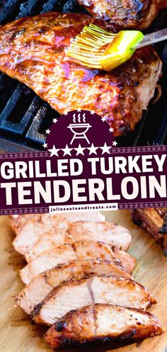 The whole family will love this low-carb meal! Marinaded in homemade BBQ sauce then grilled and basted, this turkey tenderloin is tender, juicy perfection. Find out the secret ingredient that gives just the right amount of sweetness. Save this healthy dinner recipe! Easy Turkey Recipes, Healthy Dinner Recipes, Low Carb Recipes, Chicken Recipes, Bbq Turkey, Grilled Turkey, Turkey Tenderloin Recipes, Homemade Bbq, Easy Family Meals