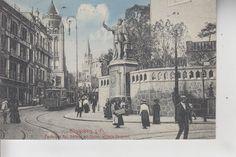 3529. Ak Königsberg, Ostpreussen, Kaiser Wilhelm Denkmal und Schloß, Straßenbahn