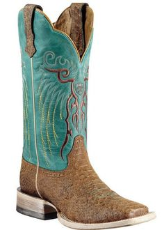f7b1094b04c Wearing these under my wedding dress  ) Ariat® Mesteno™ Ladies Topaz Snake  Print w  Clear Water Blue Top Square Toe Western Boot