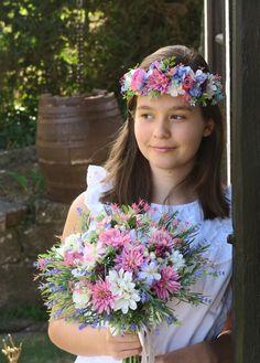 květinový věneček do vlasů, svatební věneček, látkové květiny Crown, Jewelry, Jewellery Making, Jewelery, Jewlery, Jewels, Jewerly, Crowns, Crown Royal Bags