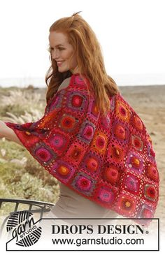 "Crochet DROPS shawl with granny squares in ""Muskat"". ~ DROPS Design"