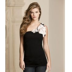 One shoulder top Cute one shoulder top with decorative shoulder. 94% rayon , 6% spandex Body Central Tops Tank Tops