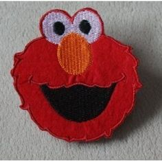 Sesame Street Elmo Face Red Iron on Sewing on Embroidered Patch Badge Art Craft Easy to Iron on Jeans, Hat, T-shirt, Bag, Cushion etc