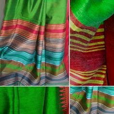 Beautiful parrot green cotton X viscose and matka silk handloom saree with blouse avbl at Kalaa-Sanchaya for 3200/- Wattsapp @ 7259510857 😊